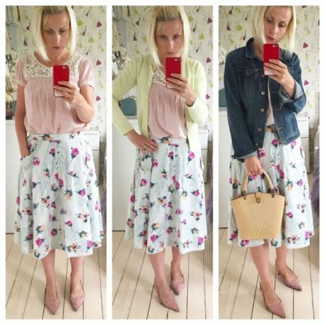 Vintage 1950s cotton skirt and bucket bag worn by Kate Beavis