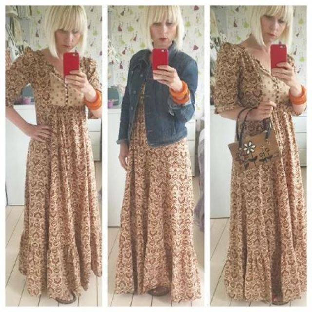 Vintage Kate Beavis wearing vintage 1970s maxi dress and Enid Collins bag