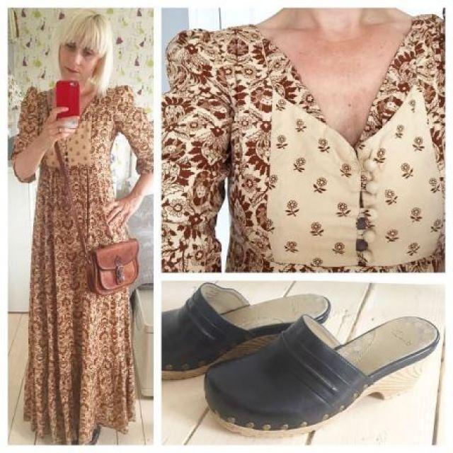 Vintage 1970s boho maxi dress worn by Kate Beavis