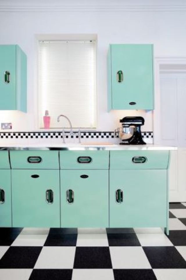 John Lewis of Hungerford English Rose 1950s vintage inspired kitchen as featured on Kate Beavis Vintage Home blog green version