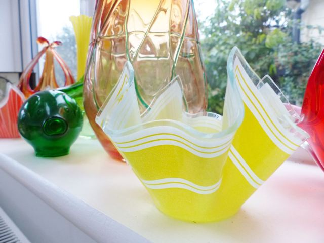 Vintage yellow Chance Glass handkerchief vase as featured on Kate Beavis Vintage Home blog