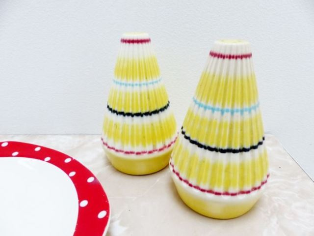 Vintage Hornsea yellow salt and pepper pots as featured on Kate Beavis Vintage Home blog