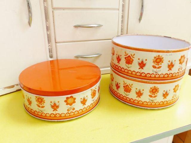 Vintage orange 1960s three tiered cake tin as featured on Kate Beavis Vintage Home blog