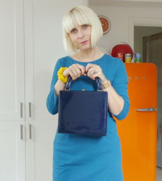 Monsoon Bertie dress, mustard yellow coloured tights, Lotta from Stockholm navy clogs, vintage St Michael patent box bag- Kate Beavis shows us a 1960s modern vintage fashion look on her blog