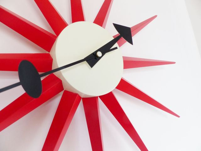 Modern Vintage style starburst clock infuenced by George Nelson sold by Vita Interiors as featured on Kate Beavis Vintage Home Blog, and featured in a vintage kids playroom
