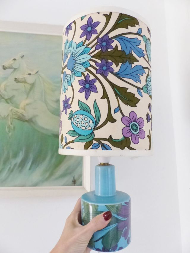 Vintage purple blue lamp and shade  as featured on Kate Beavis Vintage Blog
