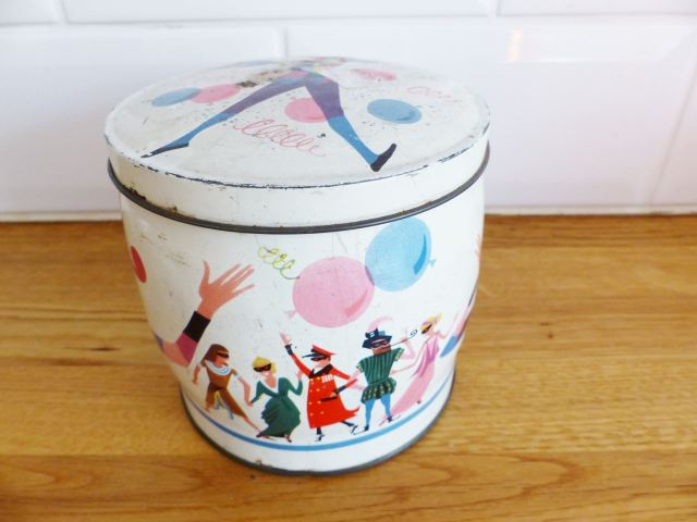 Vintage Harlequin chocolate tin as featured on Kate Beavis Vintage Home blog