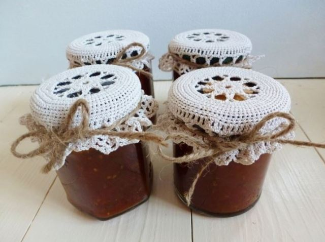 Homemade chutney with vintage crochet as featured on Kate Beavis vintage home blog