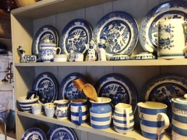 Vintage Spode blue and white china plates as seen on Kate Beavis Vintage Home blog