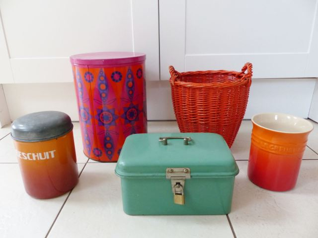 Vintage Dutch tins and kitchenware from Kate Beavis Vintage Home blog