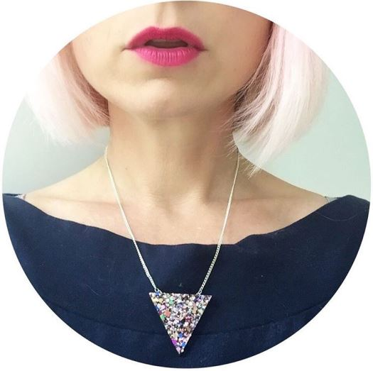 Pink hair Kate Beavis with Too Cute to Quit necklace