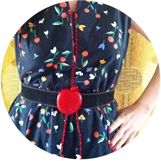 vintage 1960s cherry dress with vintage 1980s apple belt