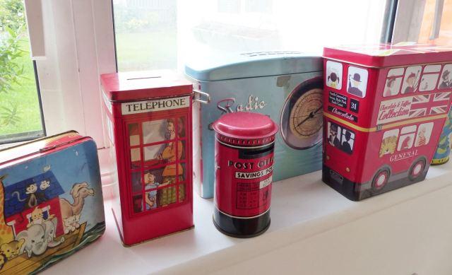 A vintage children's room by Kate Beavis.com, vintage tins