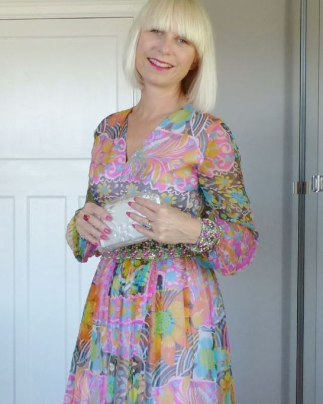 A stunning beaded 1960s vintage maxi dress fashion as featured on Kate Beavis blog
