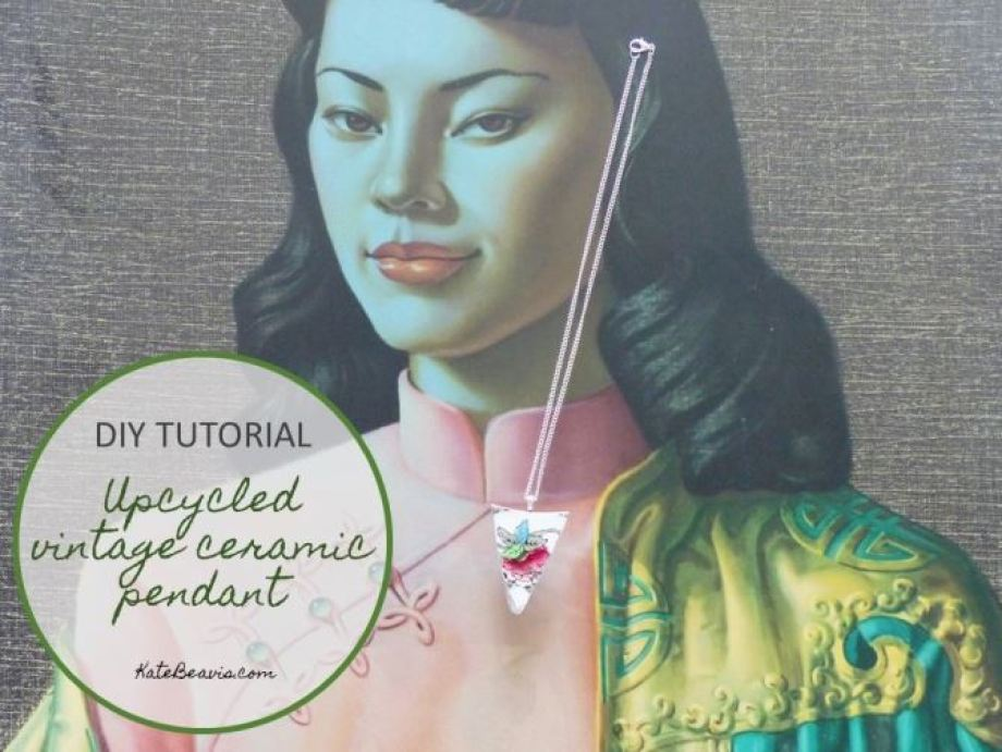 DIY Tutorial: An upcycled ceramic plate pendant necklace by Kate Beavis Vintage Home blog