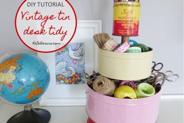 DIY Tutorial, how to make a three tiered vintage tin desk tidy by Kate Beavis