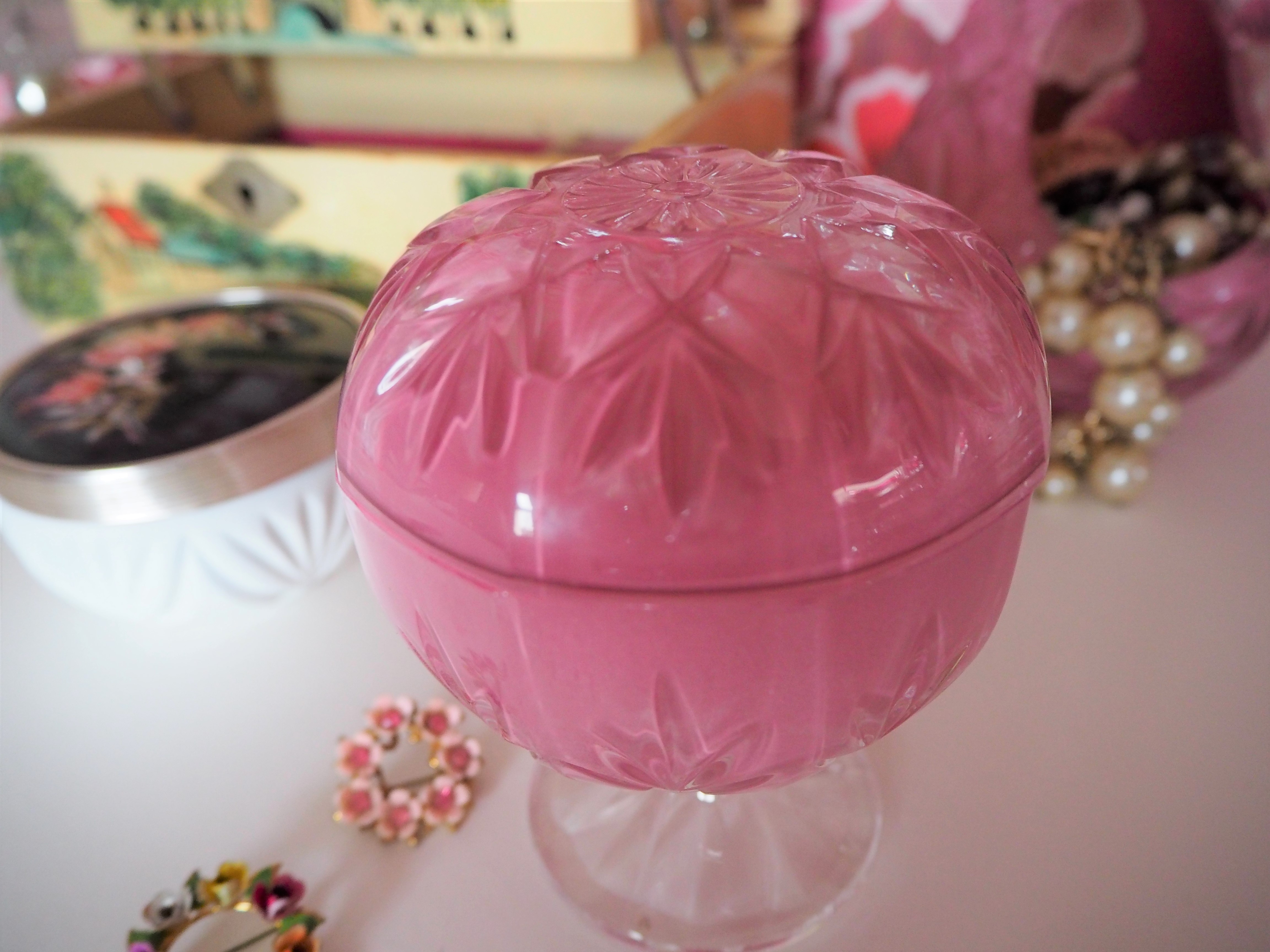 Upcycled painted crystal for your vintage dressing table