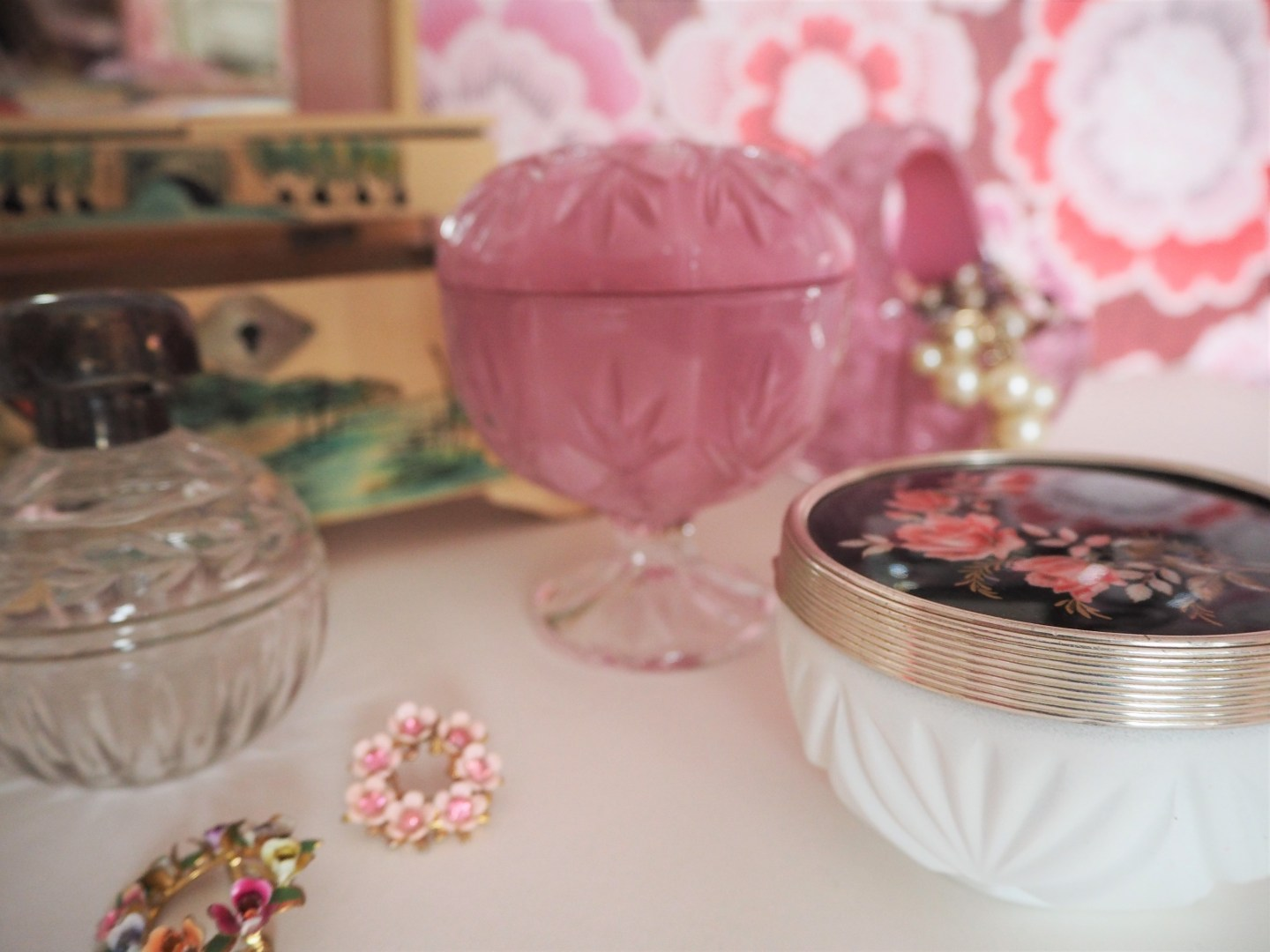 Upcycled painted crystal for your dressing table