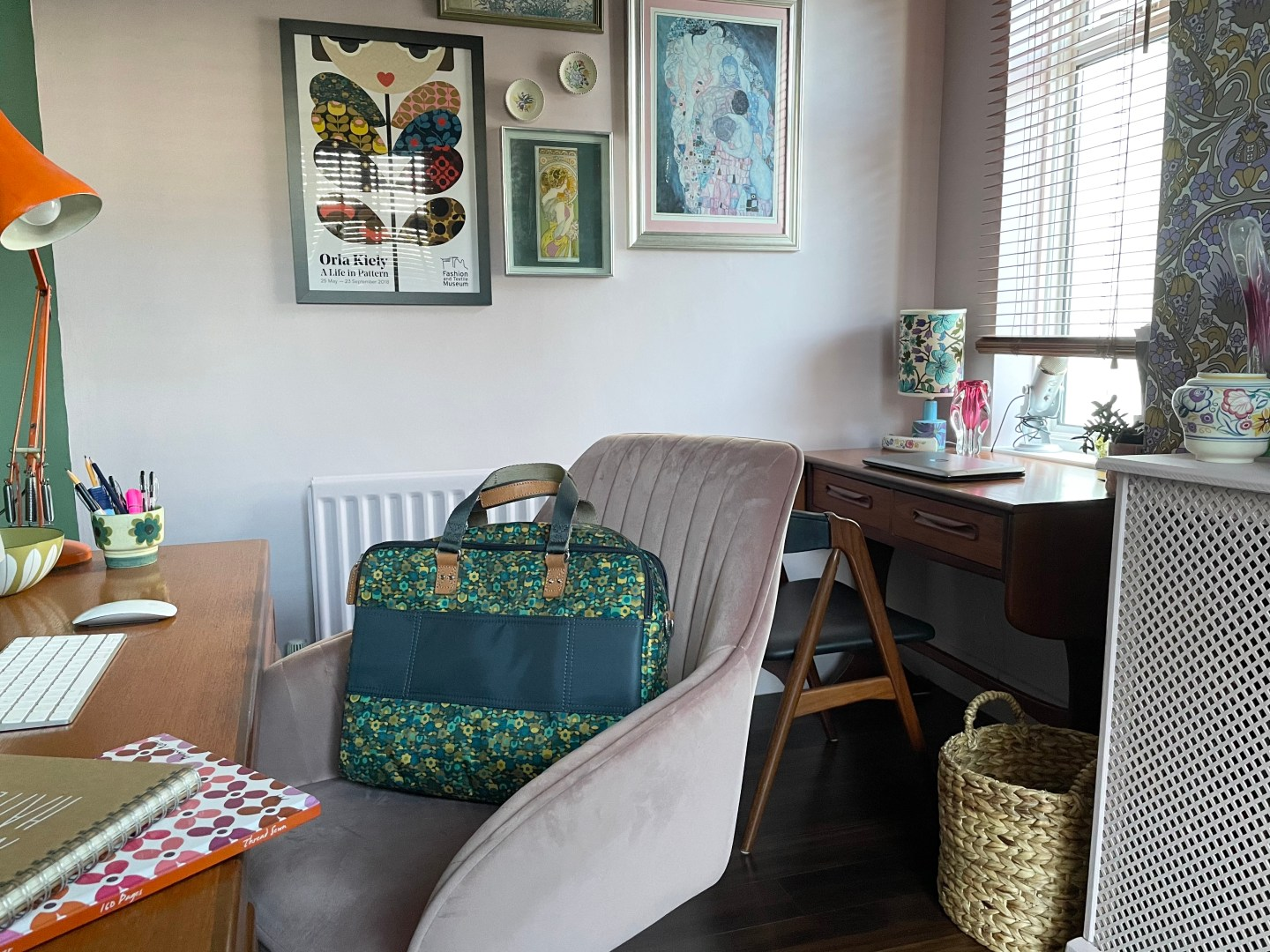 My Home Office With Vintage 1960s Wallpaper & Annie Sloan Paint