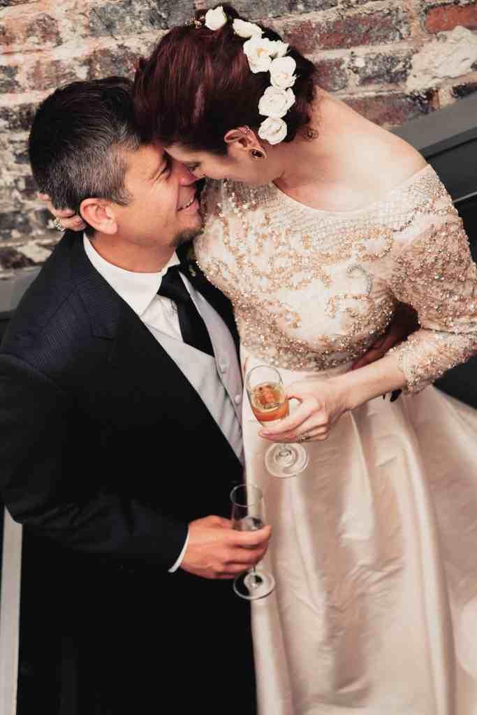 bride and groom portrait at unique wedding venue
