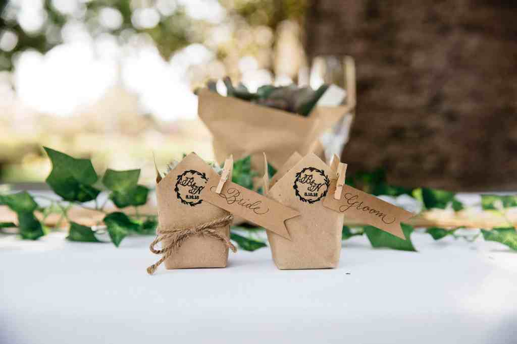 Wedding favors for an Etsy wedding with succulents