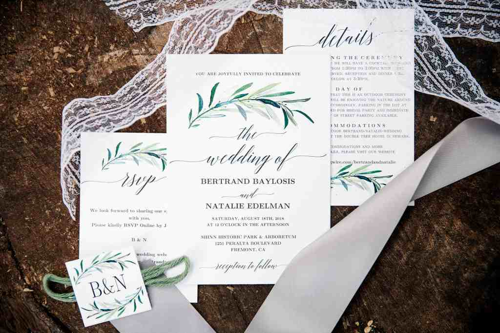 wedding invitations at DIY wedding in california