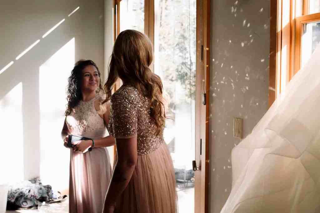 bridesmaids in sunshine