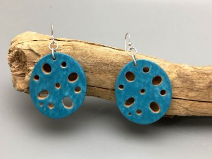 Porcelain Lotus Root Earrings Aqua/Orange