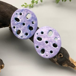 Porcelain Lotus Root Earrings Purple/Aqua