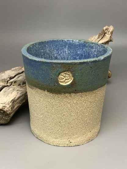 Blue Green Rustic Planter – White Raku