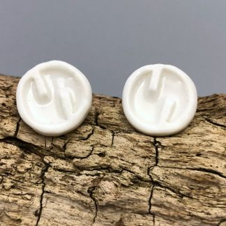 Handmade Elegant Porcelain Studs – Classic White – Great Mother's Day Gift
