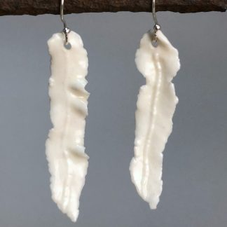 Handmade Delicate Classic White Porcelain Leaf Earrings 5cm Drop on Sterling Silver Hooks