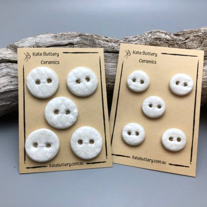 Handmade Textured Porcelain Buttons – Glazed White – Set of 5