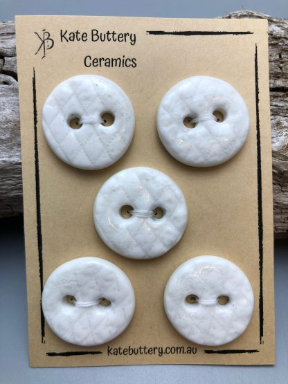 Handmade Textured Porcelain Buttons – Glazed White – Set of 5
