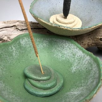 Incense Holder Insert for White Raku Emu Egg Hand Formed Bowl