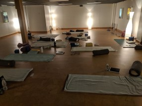 Setting up for a Restorative practice. We're just here for the savasana....