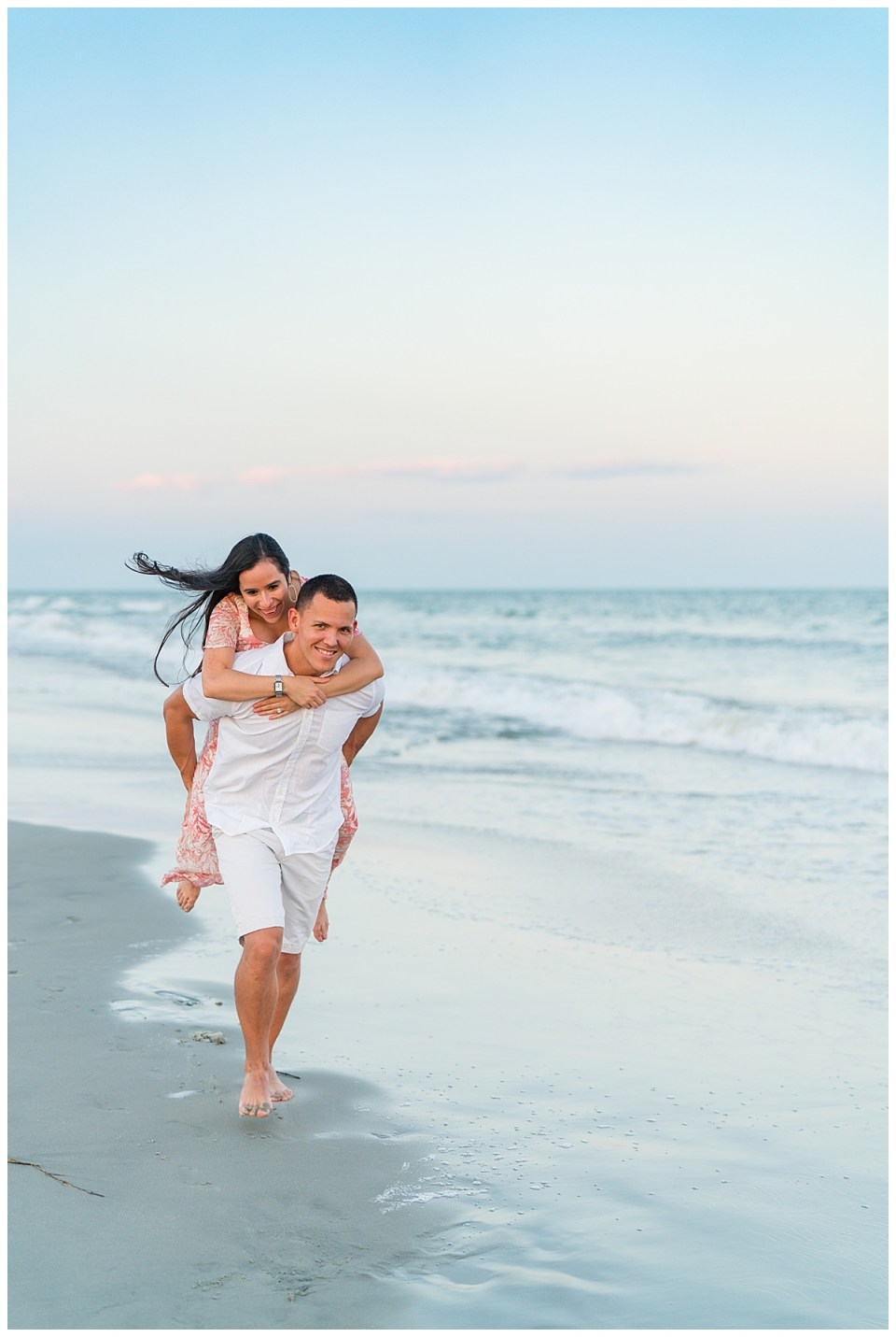 Downtown Charleston Anniversary Session at Sunset on the Beach