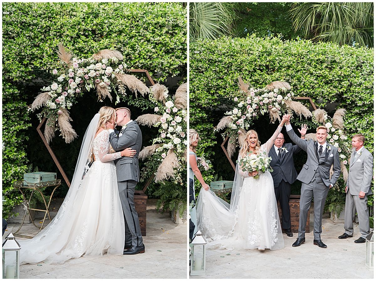 bride and groom kiss during Cannon Green wedding ceremony