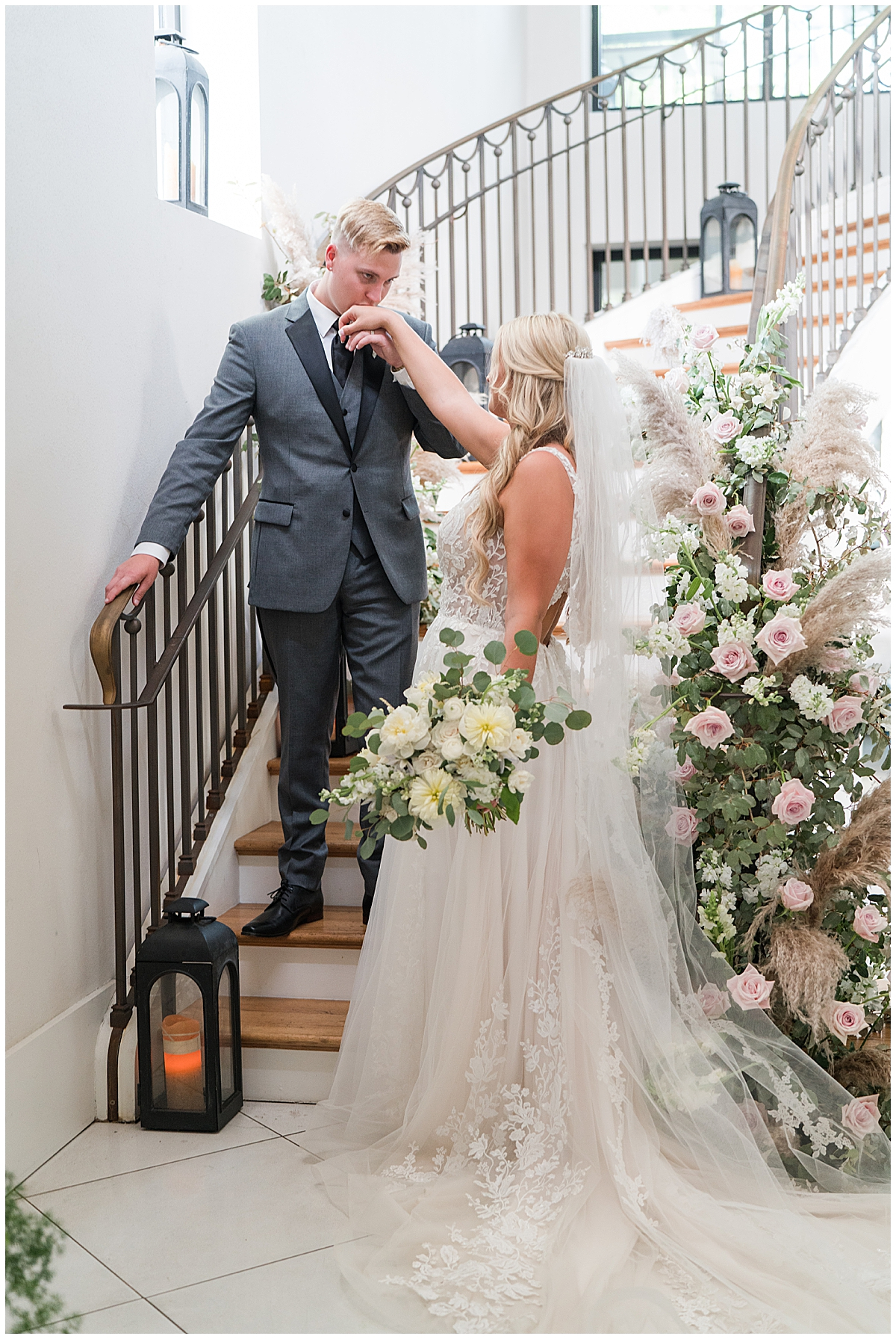 Cannon Green wedding portraits on staircase