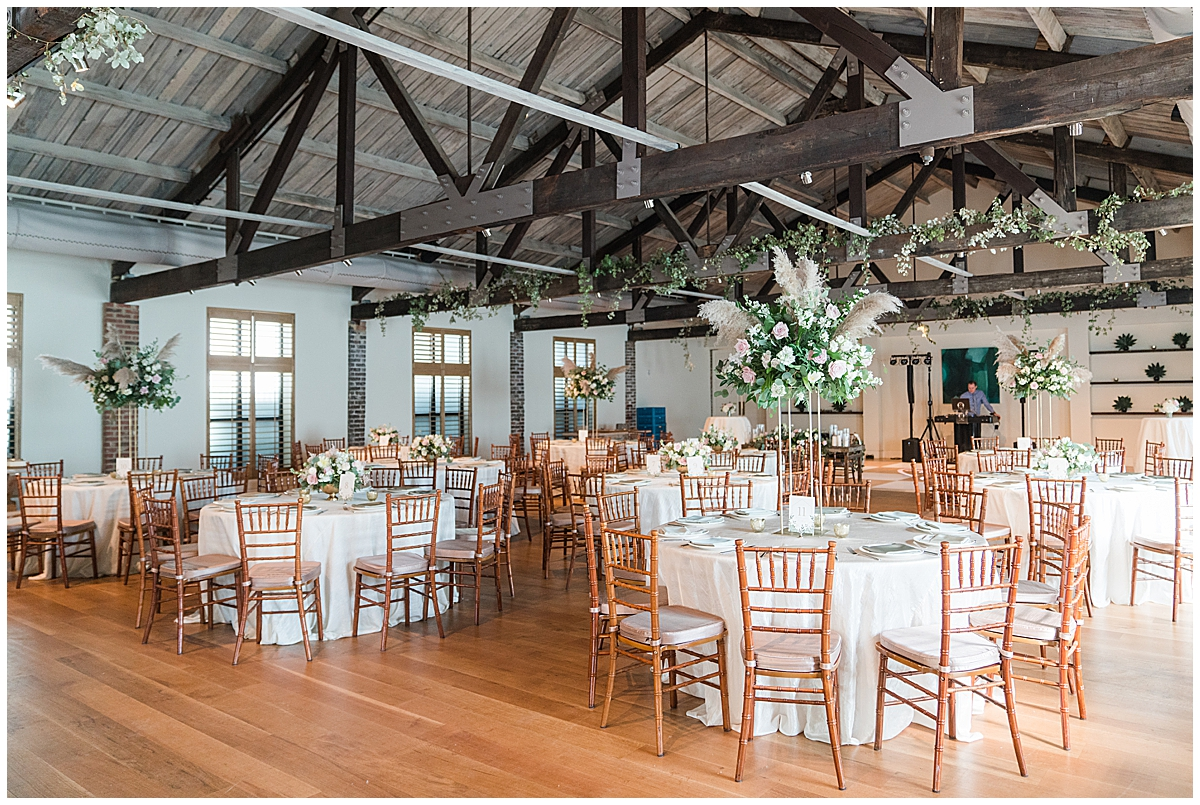 Cannon Green wedding reception with spring centerpieces