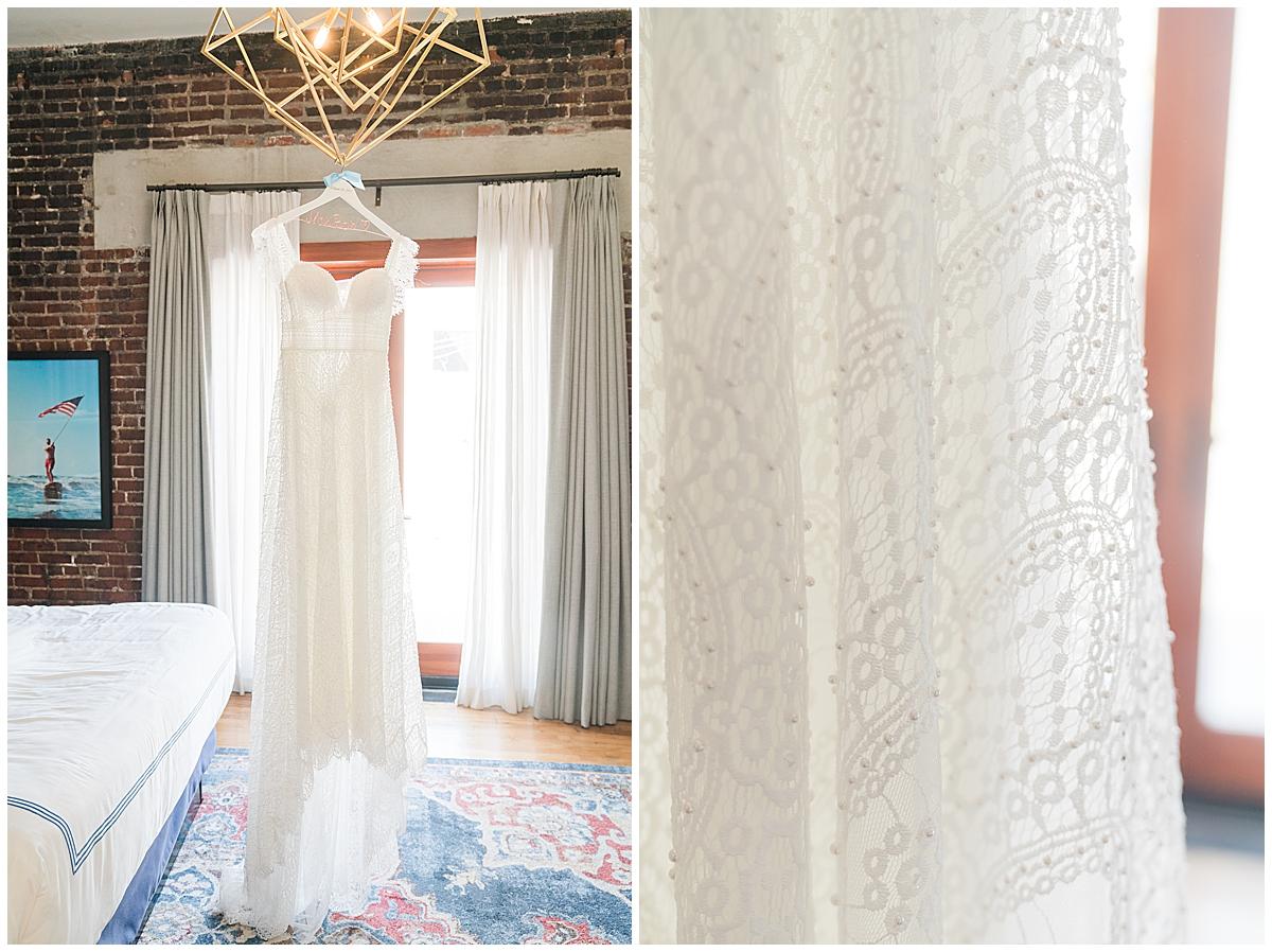 wedding dress hangs in The Restoration Hotel