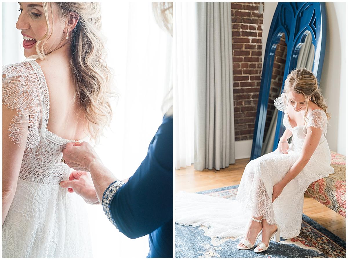 bride prepares for Charleston Aquarium wedding