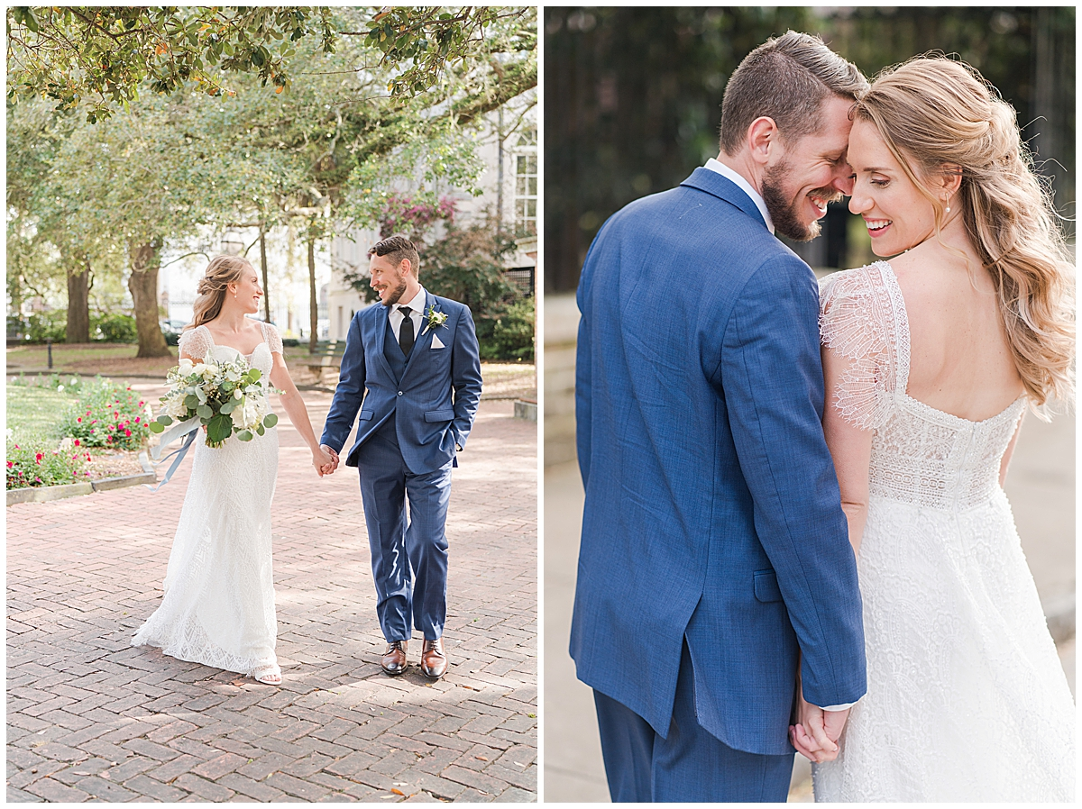 wedding portraits in Charlotte NC with groom in navy suit