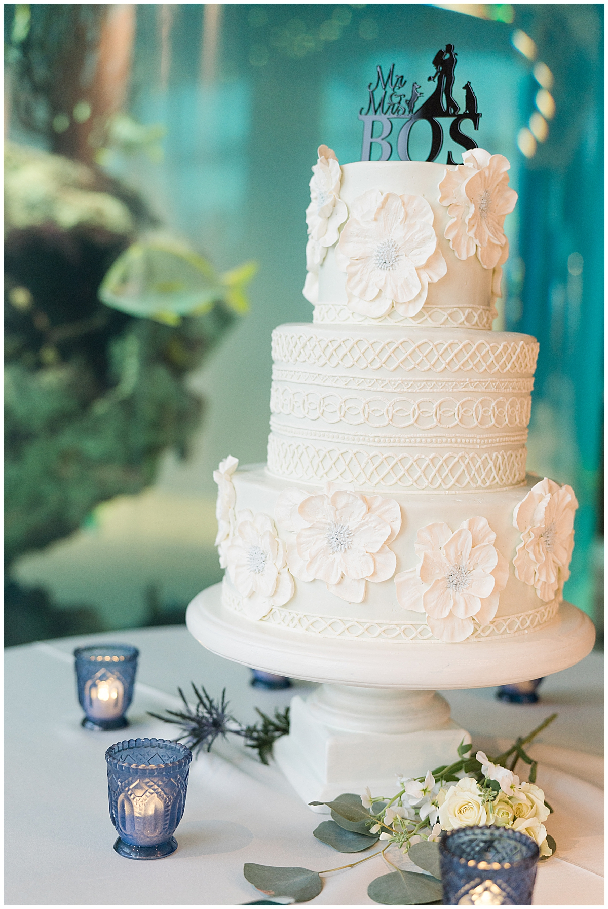 tiered wedding cake by jellyfish display at Charleston Aquarium