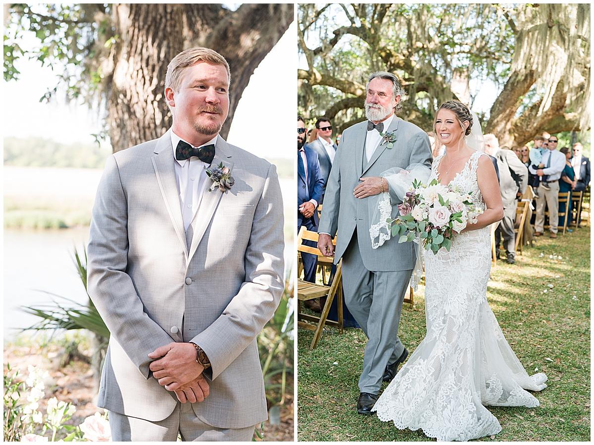 bride walks down to aisle at Runnymeade Plantation Charleston wedding ceremony