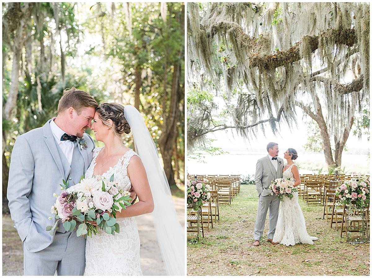 springtime Runnymeade Plantation Charleston wedding portraits along waterfront