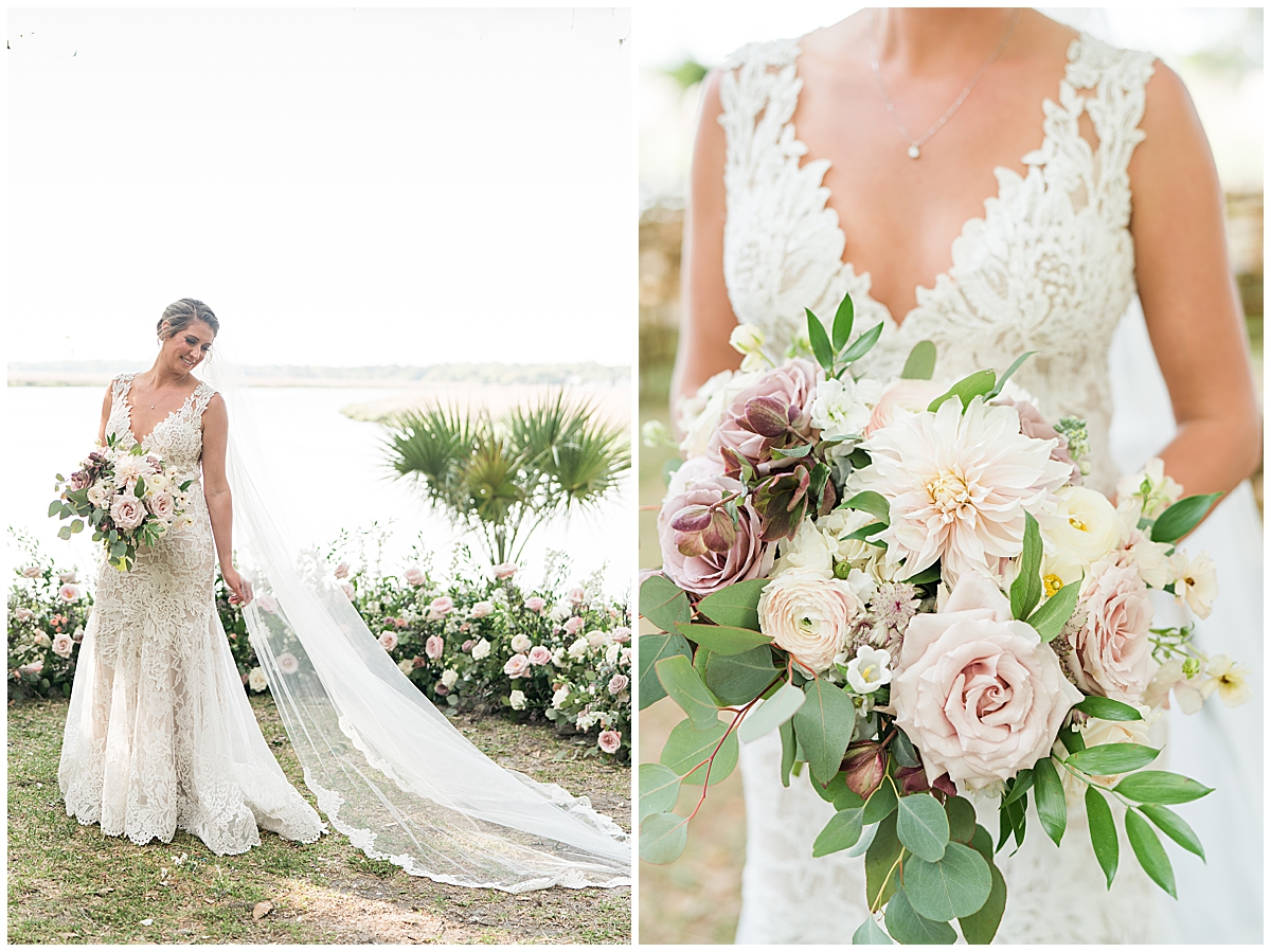 bride holds bouquet of ivory and mauve flowers
