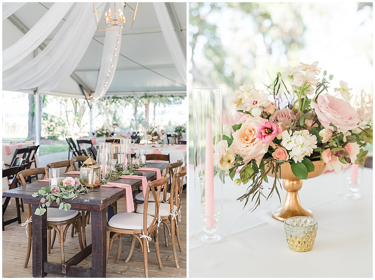 Runnymeade Plantation Charleston wedding reception with pink and gold details