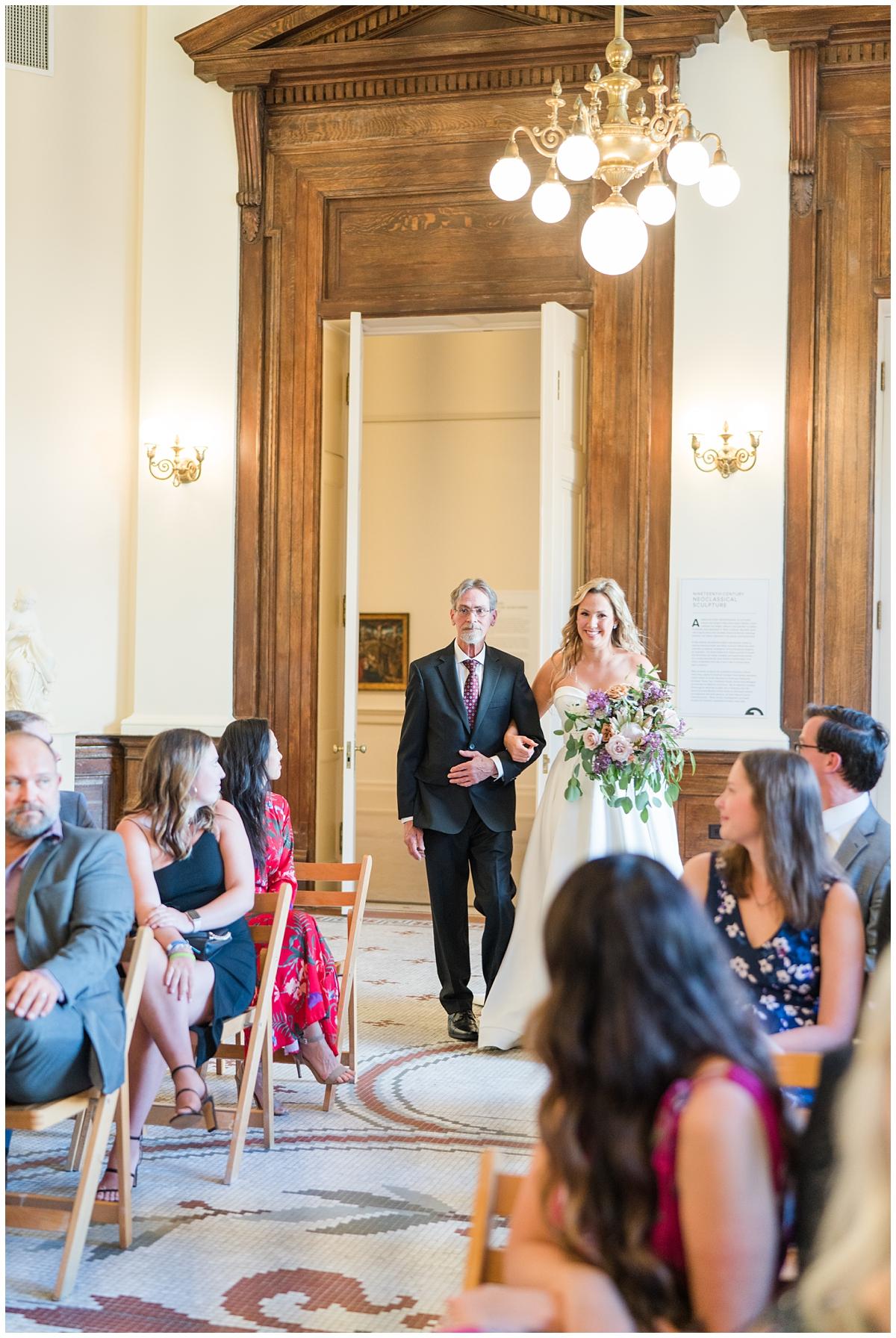 bride enters Gibbes Museum wedding ceremony
