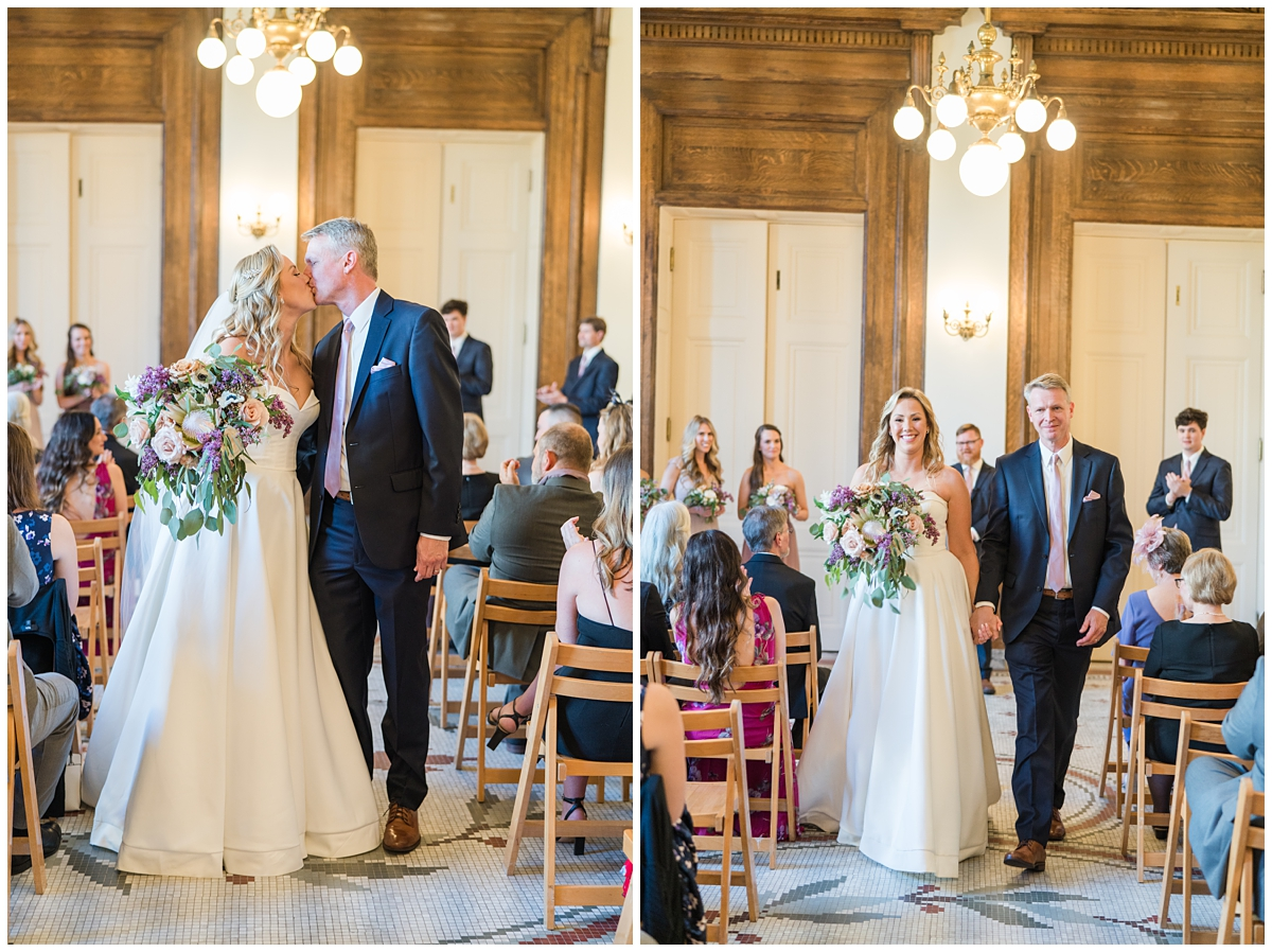 bride and groom leave Gibbes Museum wedding ceremony